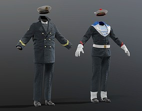 3D NAVY french soldier officer