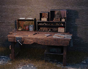 3D model Old Workbench Game Ready
