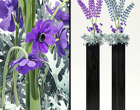 3D Flowerbeds with lavenders and alliums and Dusty Miller