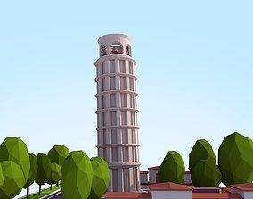 Cartoon Low Poly Pisa Tower 3D asset