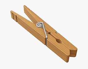 Clothespin wooden long clothes peg 3D model