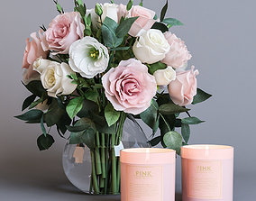 blossom Flowers and candles 3D