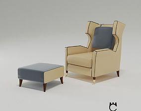 3D model Armchair and ottoman Garibaldi from Paolo 1