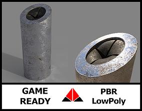 Aluminium trash can 3D asset