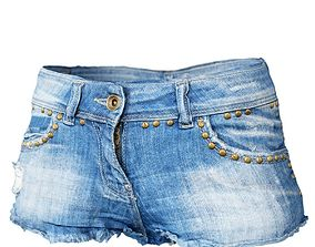 Shorts Jeans Studs Clothing Women Fashion 3D model
