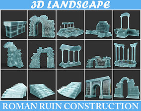 3D asset Low poly Ancient Roman Ruin Construction Pack - 2