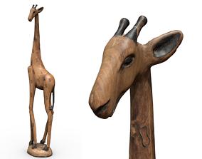 Wooden giraffe figure 3D asset