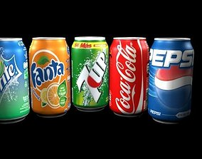 3D animated Soft Drinks cans