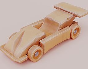 racing 3D model Wooden car toy