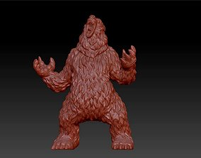 3D printable model bear black and brown standing statue