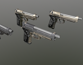 3D model Unreal and Unity Beretta M9 Pack