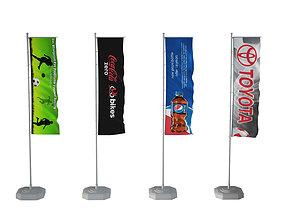 Banner flags 3D model