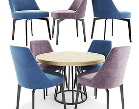 Leda Flexform Chair And Round Table 3D model