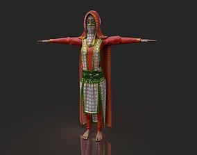 PBR Stylized Egyptian Woman in Royal Red Cloths 3D model