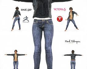 3D asset Jeans Leather Jacket