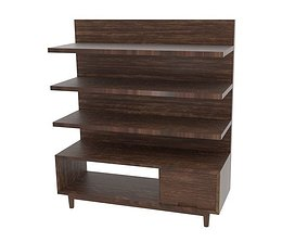 Black Wood Oak Table Cabinet 3D model