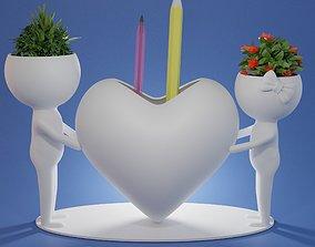 Pen holder succulent plant pot Human 3D print model 2