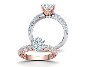 diamond-ring 1ct Engagement ring Six prong design 3dmodel