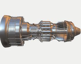 3D model Afterburning Turbofan Engine