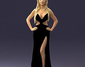Blonde girl in an open black dress 0313 3D print model