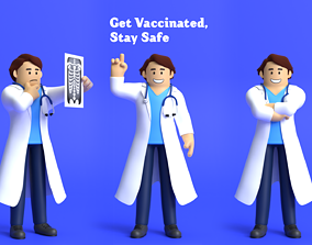 Minimal Doctor Cartoon Character 3D model