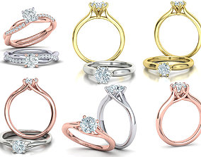 3D model Solitaire Rings Collection v2