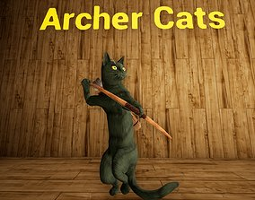 Archer Bow Cats 39 Animations with Props Ranger 3D model 1