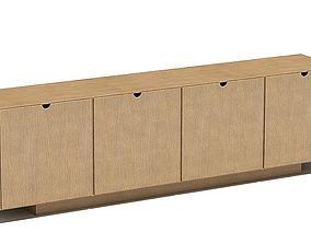Four Door Wood Cabinet 3D model