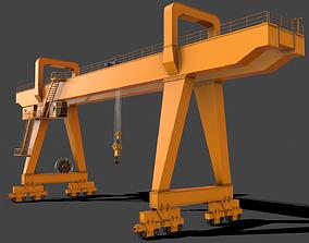 PBR Double Girder Gantry Crane V2 - Yellow Dark 3D model