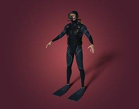 Scuba Diver - Not Rigged 3D asset