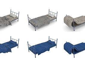 Old Dirty Single Beds 3D