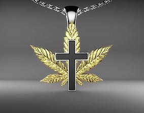 Cannabis cross 3D printable model holy
