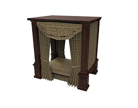 quilt Four poster bed 3D model low-poly