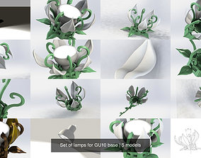 Set of lamps for GU10 base 3D model