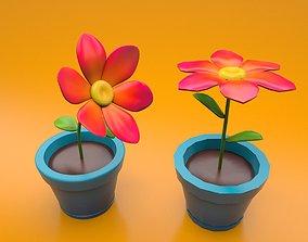 Flower in a pot cartoon style sub-d ready 3D asset