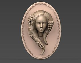 Woman with grape bas relief 3D printable model