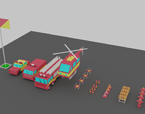 3D model Fire Vehicles Car Van Helicopter Drone