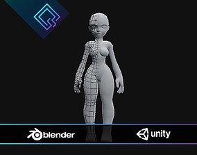 3D asset Stylized Female Base Mesh
