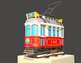 Old City Tram 3D asset