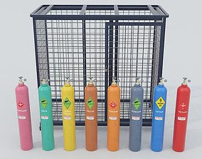 3D model 8-types of Industrial Gas Cylinders