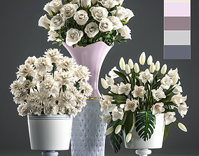 3D model Bouquets of white flowers in vases
