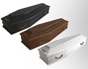 Classic wooden coffin dead 3D model