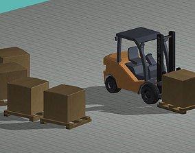 3D model low polly forklift