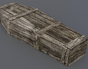 Old coffin 3D asset game-ready