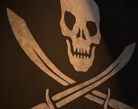 3D asset Animated Pirate Black Flag