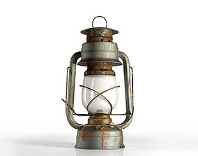 3D rust Vintage Oil Lamp