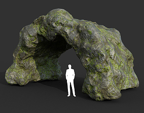 3D model Low poly Cave Modular Mossy Rock Casual07L