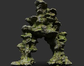 3D model Low poly Mossy Cave Rock Module 10 191220
