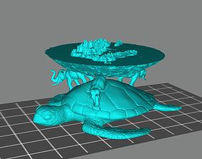 Flat Earth 3D print model elephant