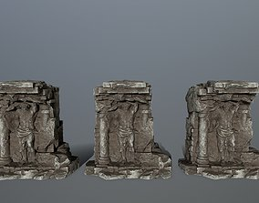 3D model low-poly old statue